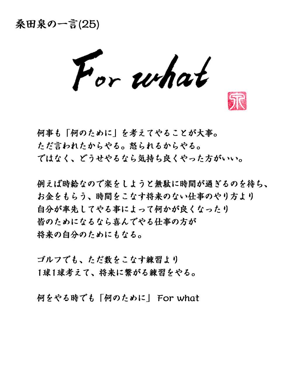 桑田の一言 「For what」